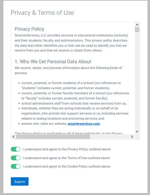 Agreement with Examity Privacy and Terms Acceptance page
