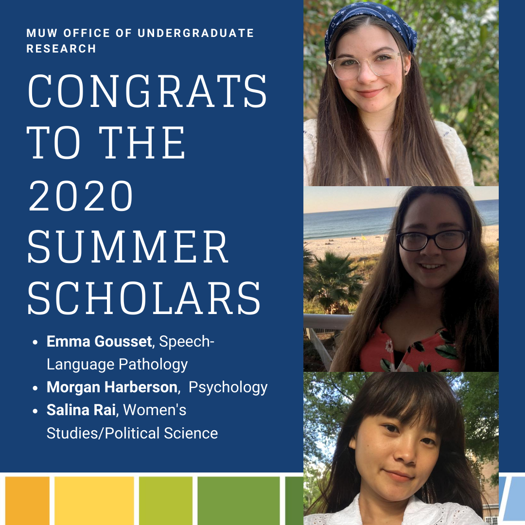 "2020 Summer Scholars - images of 3 women accompanying a message saying ""Congrats to the 2020 Summer Scholars"""