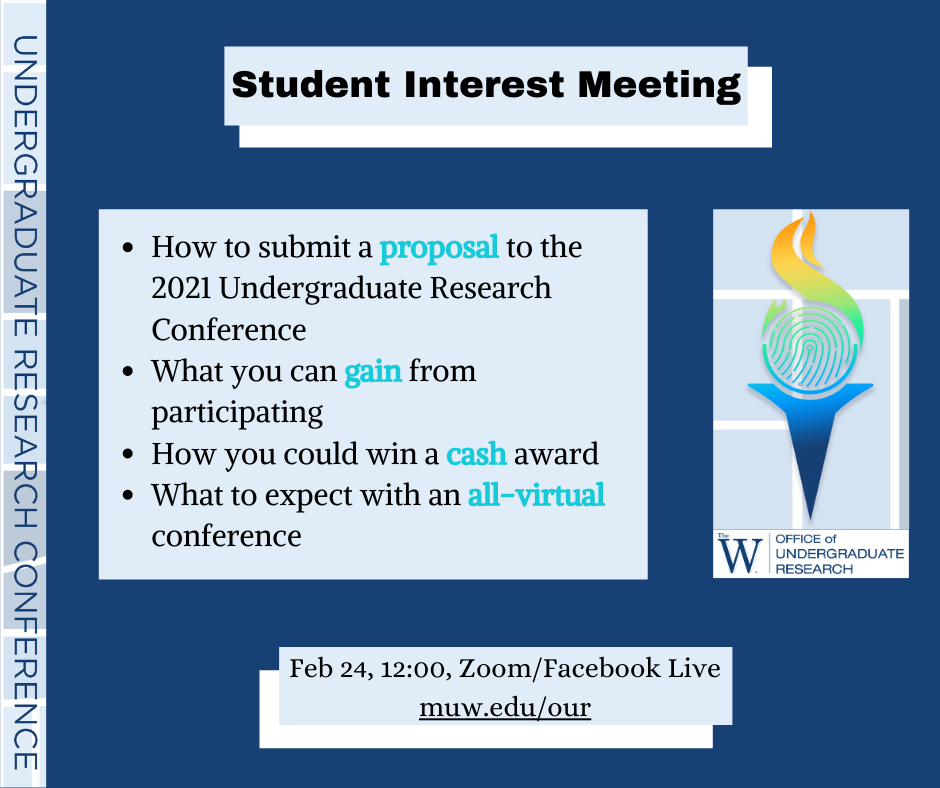 blue flyer about student interest meeting for undergraduate research conference