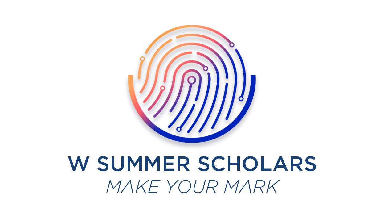 "W Summer Scholars, ""Make Your Mark"" under multicolored fingerprint"
