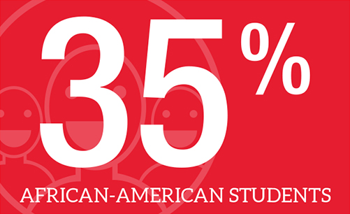35 percent of W students are African-American