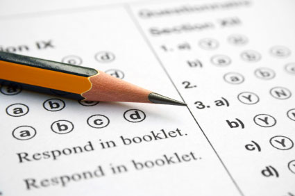 multiple choice test with pencil