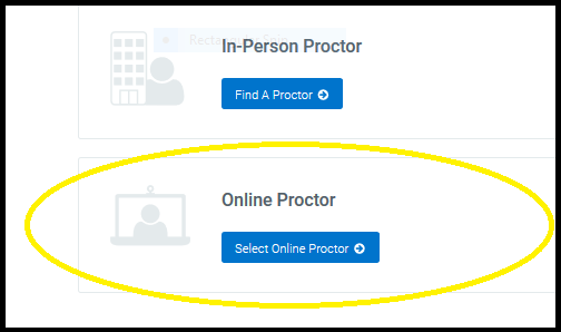 choose person or online proctor