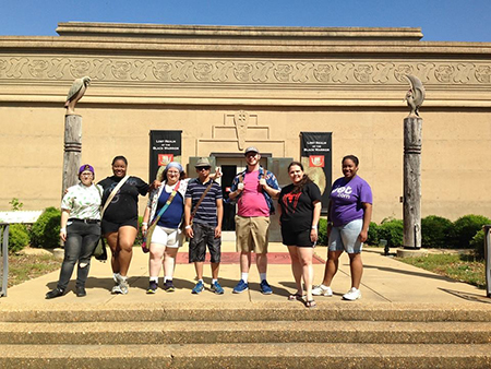 W Students at Moundville Archeological Site