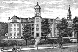 Historic Etching of Callaway Hall, MUW Campus