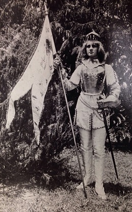 Student portraying Joan of Arc at MSCW sometime in the early twentieth century.