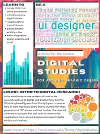 Flyer showing what careers or projects an art and design major might pursue in digital studies