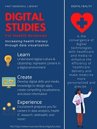 Flyer explaining what digital health is and what health sciences majors might do with digital studies