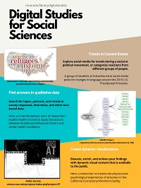 Digital studies examples in the social sciences, including a word cloud map from a political science project on twitter and the 2016 presidential campaign, a qualitative analysis project about behavioral factors and health, and a still of an interactive graphic from a project on women's experiences in prison.