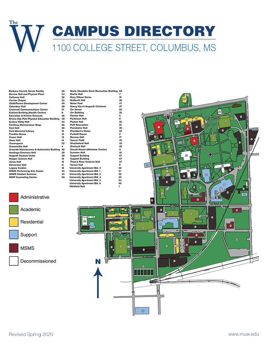 Jackson College Campus Map.Maps Directions Muw
