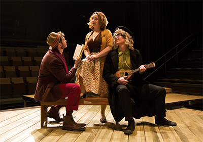 Three actors on a stage