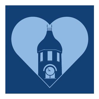 clocktower in a heart logo