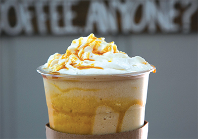 Close up of iced coffee with whipped cream