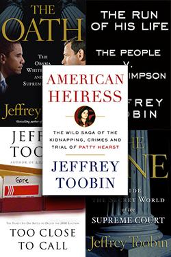 Stack of books written by Jeffrey Toobin