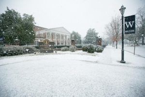 MUW campus with snow